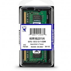 MEMORIA RAM SODIMM KINGSTON DDR3L 4GB PC3L-12800 1600MHZ VALUERAM CL11 204PIN 1.35V P/LAPTOP (KVR16LS11/4)