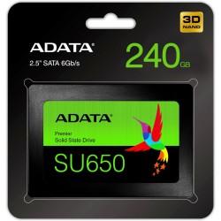 UNIDAD DE ESTADO SOLIDO SSD ADATA SU650 240GB 2.5 SATA3 7MM LECT.520 / ESCR.450MBS SIN BRACKET PC LAPTOP